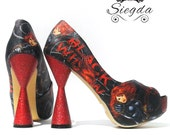 Deadly Assassin- Peep Toe Glitter Heels- Wedding- Geek- Bride- Gift- comic book- Christmas- Comic Book- Superhero- Custom Shoes