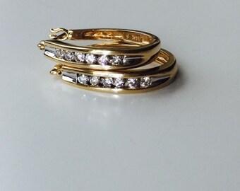 """Vintage 14kt Gold and Diamonds Hoop Earrings  7/8"""""""