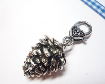 Costume pendant, Charivari trailer pin, antique silver, 6 cm