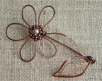 Shawl Pin, Scarf Pin, Sweater Pin, Copper Shawl Pin, Copper Sweater Pin, Copper Scarf Pin, Flower Scarf Pin, Copper Flower Pin, Flower Pin