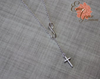 Sterling Silver Infinity Necklace with Cross, Lariat Necklace