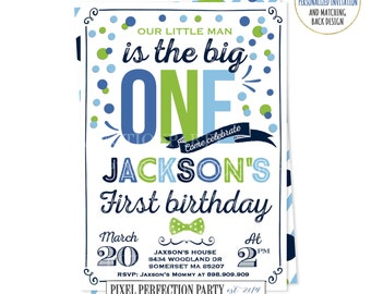 Boy First Birthday Invitation Boy 1st Birthday Invitation Colorful  Navy Blue Green Light Blue Polka dot Invite Boy First Birthday Party