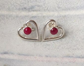 Silver Heart Earrings - Heart Posts - Heart Studs - Ruby Earrings - Mary Colyer Jewellery - Lovely Gift - Holiday Gift