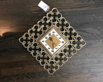 Vintage Home Interiors Syroco Clock- Hollywood Regency Style- Fleur De Lis Design- Antique Gold Roman Numeral Clock