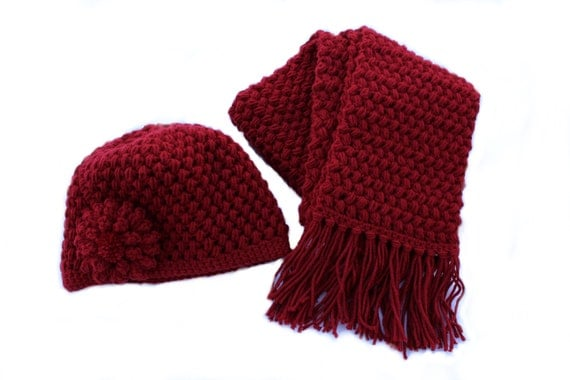 Ready to Ship**Free Shipping*/Crochet Hat and Scarf Set/Red Hat and Scarf/Medium Long Ladies Teen Scarf Hat Set/Flower Hat/Scarf with Fringe