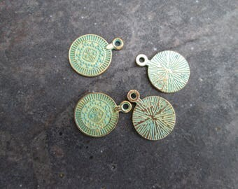 Patina coin charms in antique gold with verdigris patina finish package of 4 charms Earring findings
