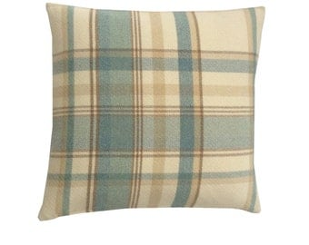 Skye Tartan check faux wool  duck egg blue ivory  beige scatter cushion cover hand made in Britain