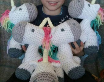 crochet unicorn plush toy - ready to ship