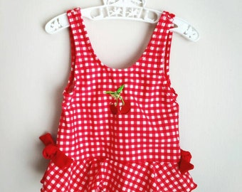 Vintage baby clothes,  vintage baby girl swim suit,  red and white plaid with cherry,  Samara,  18 months