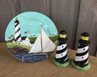 Vintage Warren Kimble by Sakura NY Lighthouse plate/ Coastal breeze pattern Sakura salt & pepper shakers/ lighthouse salt and pepper shakers