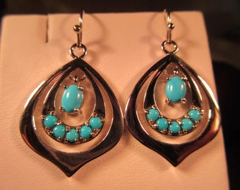 Retro Sterling Silver Turquoise Earrings