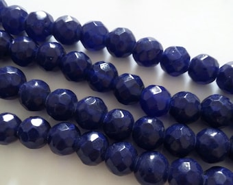 20pcs Dark Blue Faceted Dyed Glass Beads 10-13mm - DYGB-002