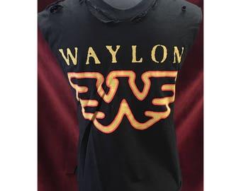 Custom Vintage Distressed Waylon Jennings Tshirt