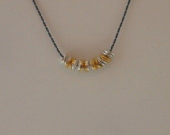 Oxidized Sterling Silver Chain Necklace (Black) With Gold Vermeil (Gold over Sterling Silver) and Sterling Silver