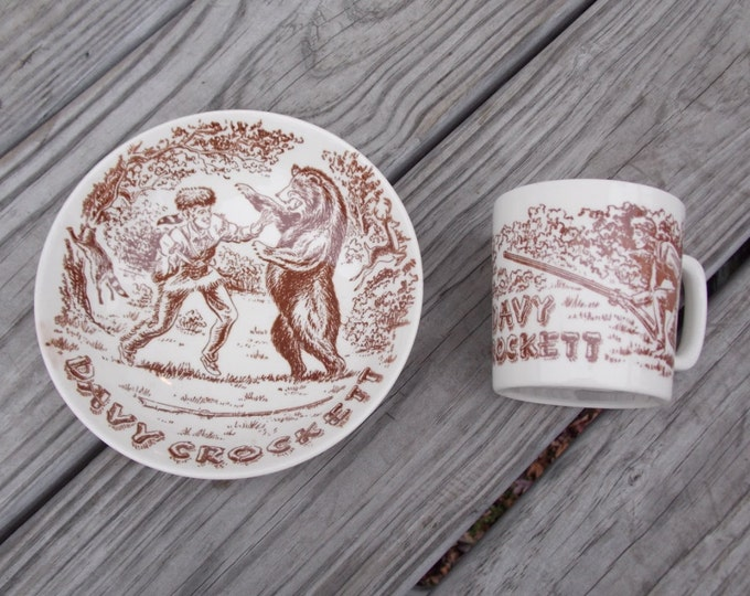 Davy Crockett coffee mug and cereal bowl