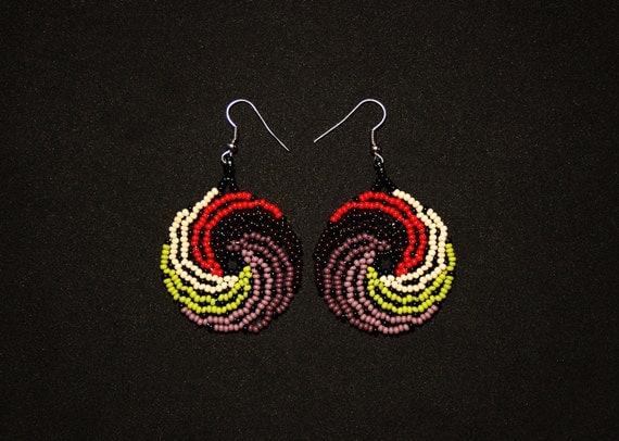Huichol Wave Earrings, Mexican Beaded Earrings, Huichol Jewelry, Small Medallion Earrings, Small Beaded Earrings, Traditional Beadwork
