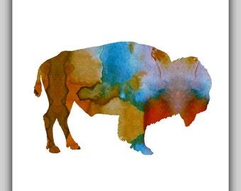 Bison watercolor, Bison water color, watercolor prints, water color prints, watercolor art, bison art, nursery art, printable, buffalo print