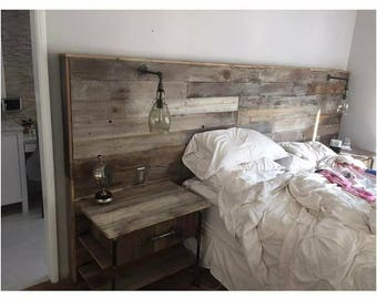 Rustic Headboard with night stand