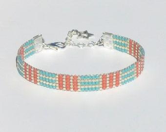 Mauzie Miyuki Delica Beaded Bracelet Miyuki Bracelet Jewelry Handmade Bracelet Everyday Bracelet Gift for Her Beads Aqua Grapefruit Silver