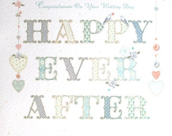 Wedding card Happy Ever After on your wedding day card, Glitter sweet Congratulations on your wedding day greeting card