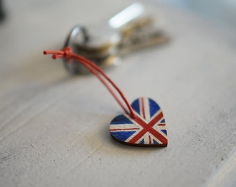 Union Jack luggage tag, pendant, United Kingdom flag, British flag, small flag, one inch, christmas ornament