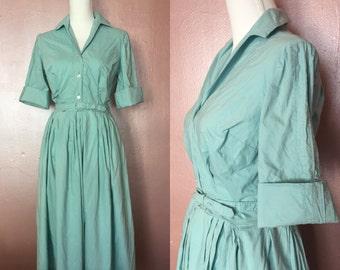Small medium 1950s sky blue belted shirt waist dress/50s day dress