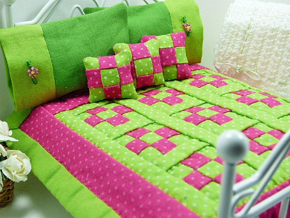 Patchwork Quilt Hot Pink Lime Green Lovely Dollhouse Bedding