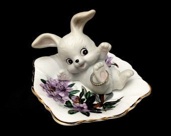 Upcycled/Hand-crafted/Vintage Rabbit Ringholder/Trinket Dish/Ring Dish/Valentine's Day/Engagement Gift
