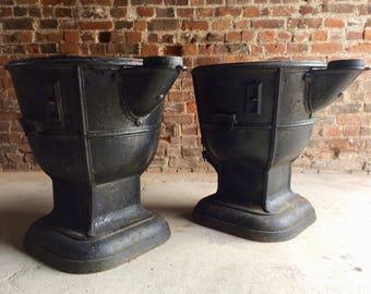 Super Large Garden Urns Metal Boilers Planters Mid Century Loft Style Industrial