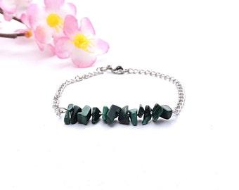 Gift idea jewelry, malachite bracelet, december birthstone jewelry, stainless steel silver bracelet, green crystal jewelry, women gift shi