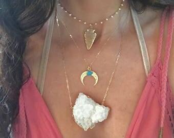 Large Quartz Crystal Cluster Necklace // Large Quartz Necklace // Quartz Cluster Necklace