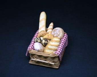 OOAK Filled Artisan Bread Display~ Miniature Food ~ Dolls House Miniatures
