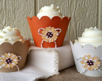 Sunflower Cupcake Wrappers, Fall Colors Cupcake Wrappers, Wedding Cupcake Wrappers, Burlap and Ivory Wrappers