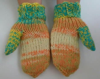 Multicolored Mittens, Warm Handknitted Crochet Mittens