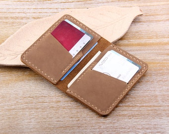 Handmade Bifold Leather Wallet - Minimalist Leather Credit Card Wallet - Front Pocket leather wallet - Business Card Case Slim Wallet