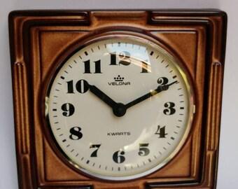 Vintage Velona 70s wall clock ceramic