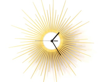 The Big Bang - stylish wooden wall clock with glistening golden paint