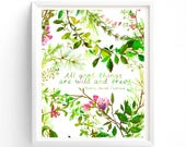 Printable art All Good Things Are Wild And Free, Print , Henry David Thoreau, Botanical Art Quote, Leaves and Branches