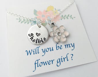 Flower Girl Necklace, Flower Girl Gift, Will you be my flower girl, Flower Girl Jewelry, Personalized Flower Girl Necklace, Gold flower girl