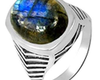 RING man LABRADORITE ring labradorite gem stone natural protection money KB29