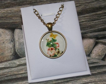 Flower and butterflies necklace, Antique bronze necklace with glass cabochon 25mm