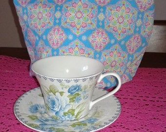 Pink and blue  tea cozie for tea pot pinklady cottage