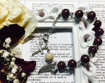 Rosary bracelet, chaplet, one decade rosary, rosary beads, dried flower beads from funeral flowers, wedding flowers