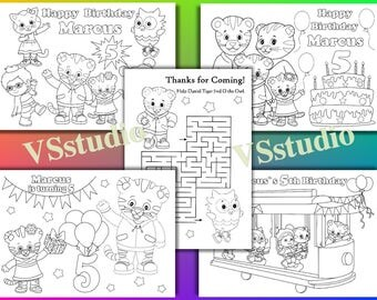 Daniel Tiger Birthday Party coloring pages, Daniel Tiger Party favor, PDF file