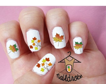 30 Fall Autumn Leaves Nail Decals  (Waterslide Nail Decal)