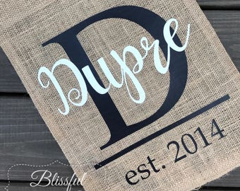 Burlap Garden Flag-Personalized Garden Flag-Realtor Closing Gift-Houswarming Gift-Wedding Gift-Last Name Flag