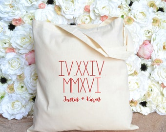 Destination Wedding Welcome Bag - Roman Numerals and Names