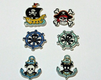 6 Wooden  Pirate Buttons  #SB -00284