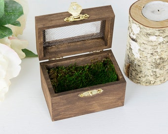 Moss Ring Box- Woodland Ring Bearer Box- Bridal Keepsake Box- Rustic Ring Box- Ring Bearer Pillow- Wedding Ring Box- Woodland Wedding