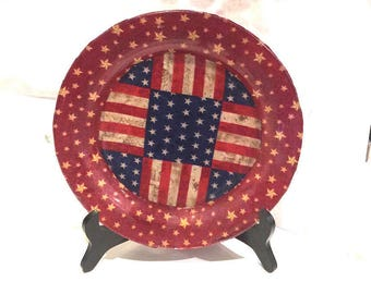 "Patriotic Flag Star 10"" Glass Plate Red, White, Blue Decoupage Glass Plate Fabric"
